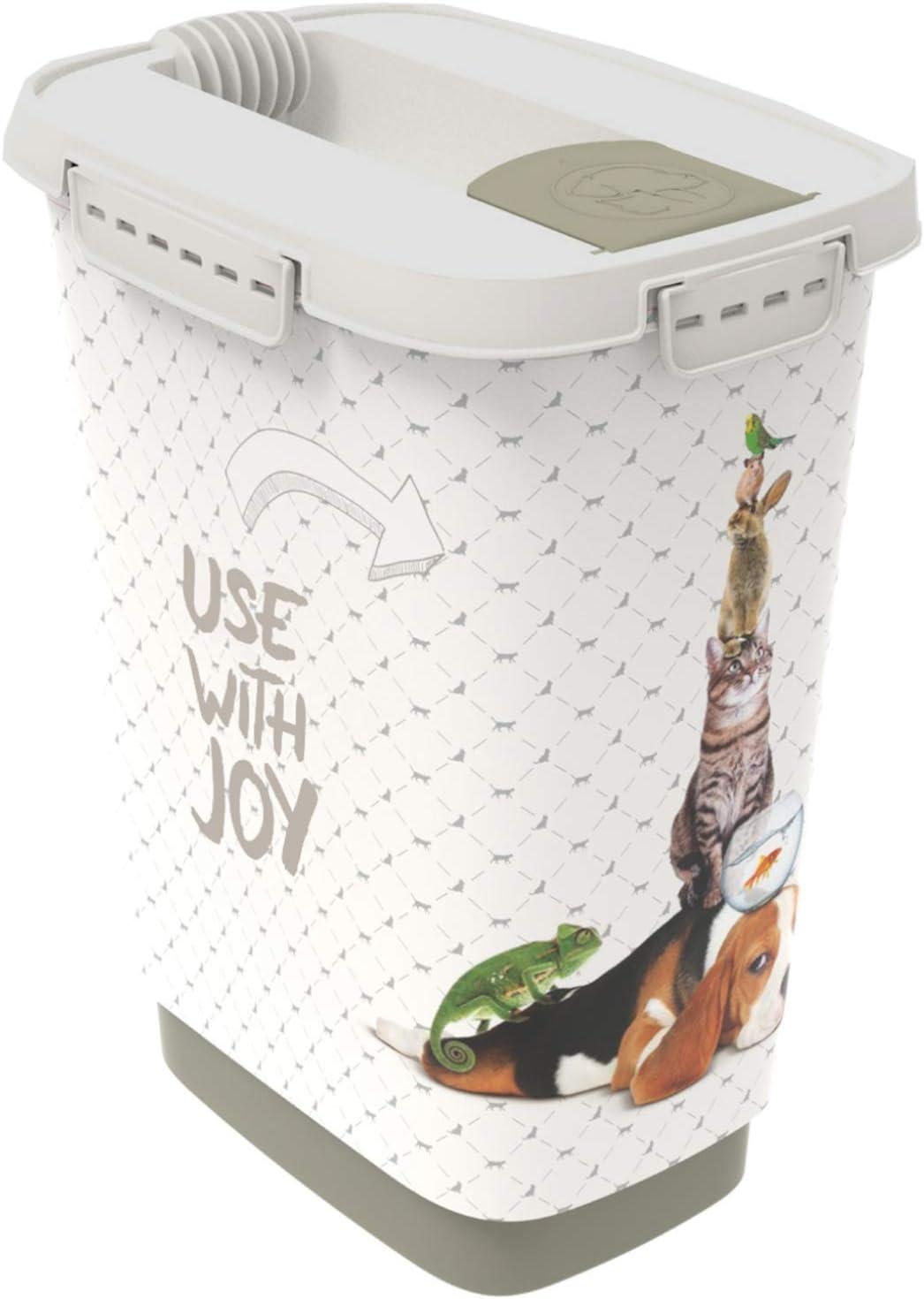 Rotho Cody, Recipiente de comida para mascotas de 10 litros con tapa y solapa para una dosificación práctica, Plástico PP sin BPA, antracita, blanco, 10l 24.3 x 17.9 x 32.2 cm