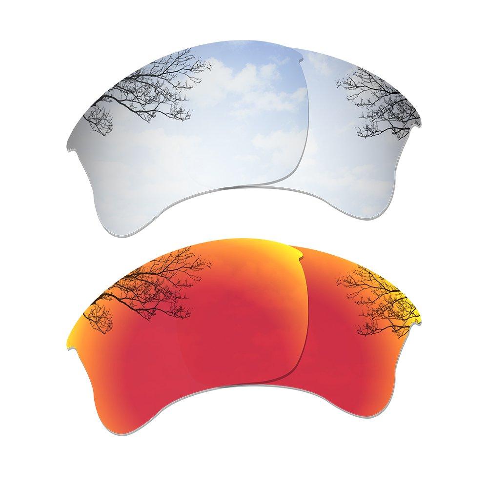 Dynamix Polarized Replacement Lenses for Oakley Flak Jacket XLJ - Multiple Options (Titanium + Fire Red, Polarized Enhanced) by Dynamix