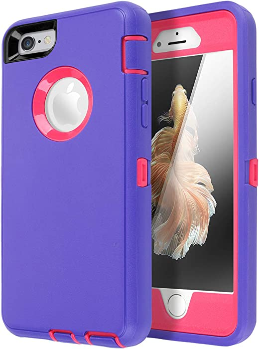 iPhone 6 Case, iPhone 6S Case [Heavy Duty] AICase Built-in Screen Protector Tough 3 in 1 Rugged Shockproof Cover for Apple iPhone 6/6S (Light Purple/Rose Red)