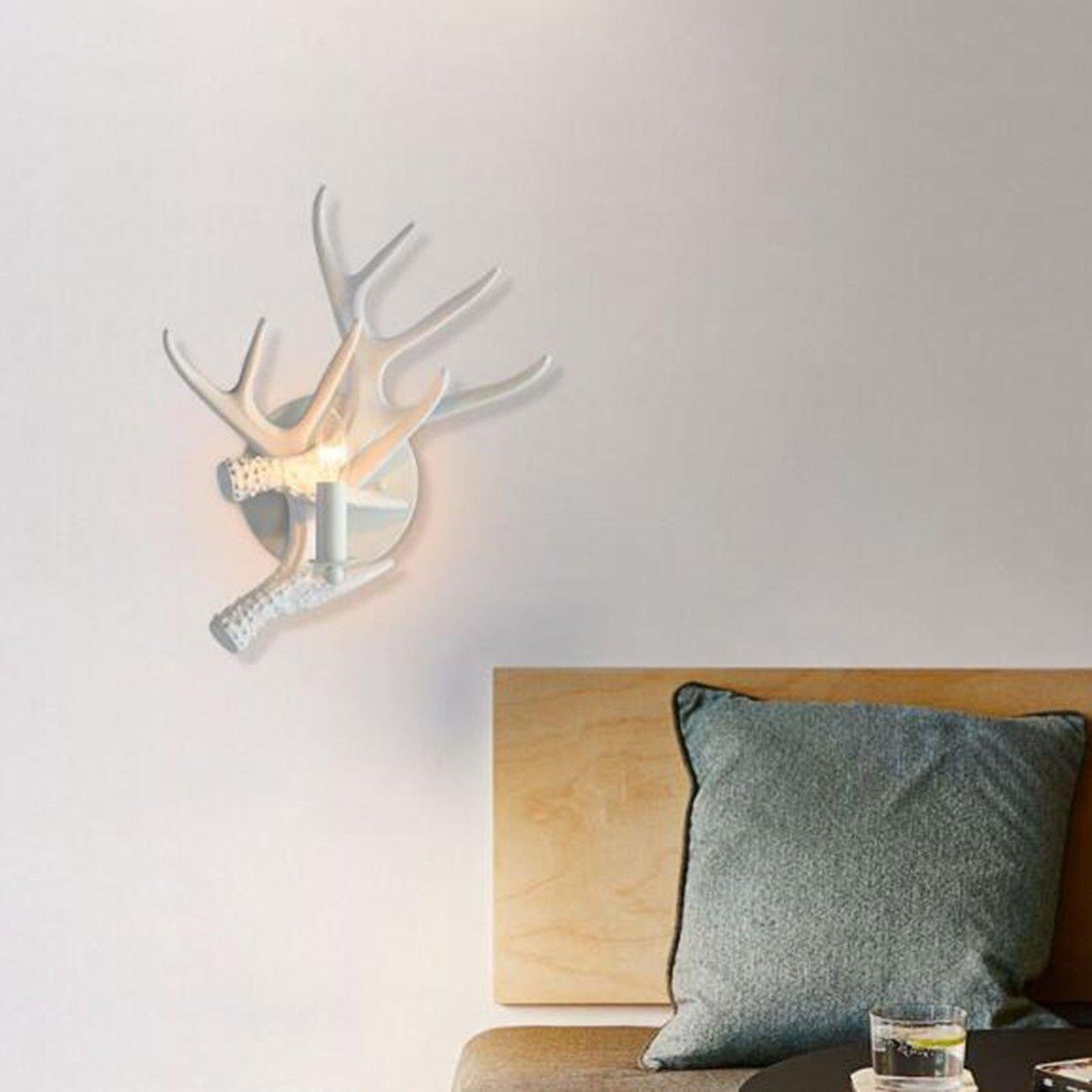 T-ZBDZ Land Wandleuchte weiße Geweih Wand Lampe Wohnzimmer Nachttisch Schlafzimmer Dekoration Geweih Wandleuchte, A