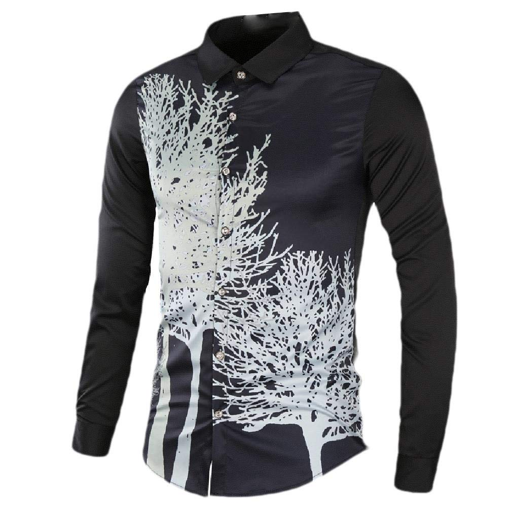 Comaba Men Button Floral Printed Slim Fit Long-Sleeve Fashion Western Shirt