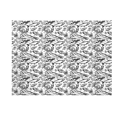 (Crabs Decor Photography Background,Sea Animals a Vintage Illustration of Hand Drawn Seafood Pattern Print Backdrop for Studio,10x10ft)