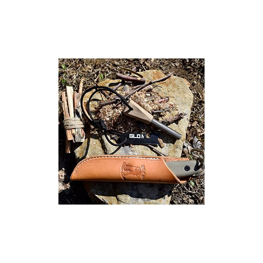 """Grab Life Outdoors 1/2"""" Thick Firesteel Fire Starter Traditional Bushcraft Ferro Rod With Natural Wood Handle And Striker All Weather Emergency Survival Flint"""
