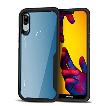 Funda Huawei P20 Lite, Carcasa Ligera Bumper Silicona Suave Negro TPU y Transparente Duro PC Case Anti-Arañazos, Anti-Golpes Cover Caso para Huawei ...