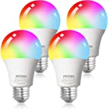 Smart WiFi Alexa Light Bulb, Peteme Led RGB Color Changing Bulbs, Compatible with Alexa, Siri, Echo, Google Home (No Hub…