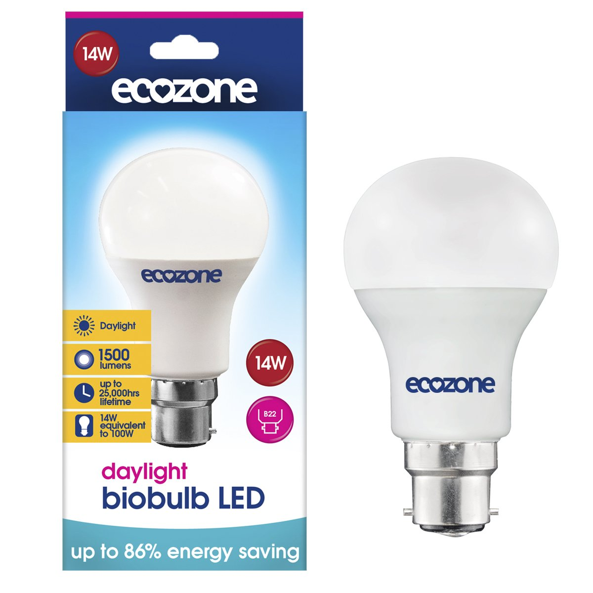 Ecozone LED Daylight B22 14W (100W Equivalent) Ecozone Ltd BB21