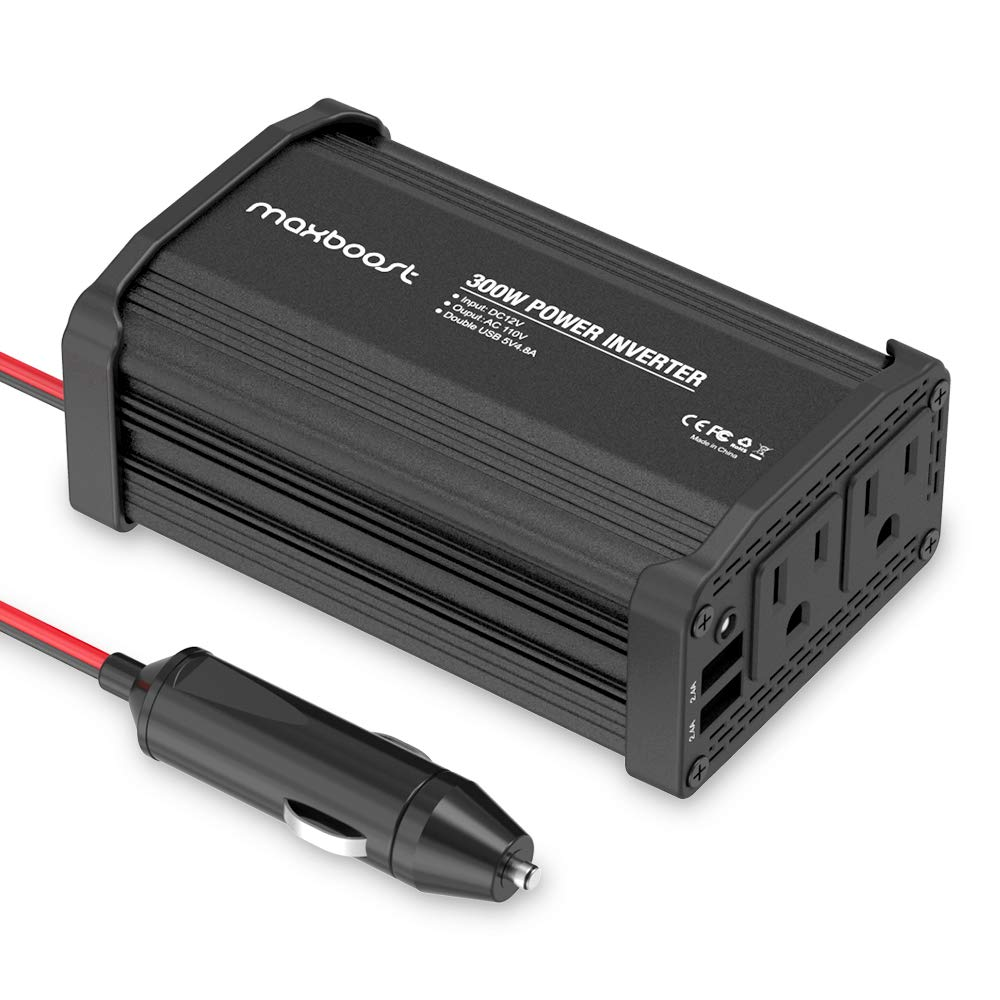 Maxboost 300W Power Inverter Dual 110V AC Outlet + Two 2.4A/24W USB Ports Car Charger [Aluminum & PC Body] DC 12V to 110V AC + DC 5V USB Battery Charger for Laptop,iPad,iPhone,Tablet,Phone by Maxboost