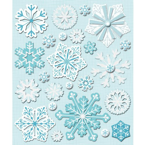 Snowflake Glitter Stickers - K&Company Snowflakes Sticker Medley