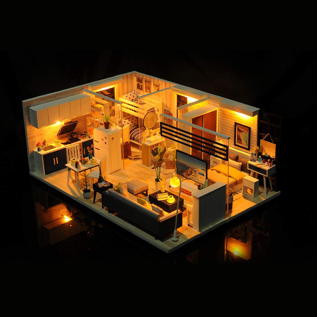 Gotd Clearance Dollhouse Miniature DIY House Kit ,3D Wooden DIY Miniature House Furniture LED House Puzzle Decorate Creative Gifts for Kids (A) by Gotd Clearance