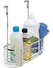 mDesign Hanging Kitchen Cupboard Storage — Kitchen Storage Solutions for Cleaning Supplies and Kitchen Accessories – Back of Door Storage Basket – Chrome