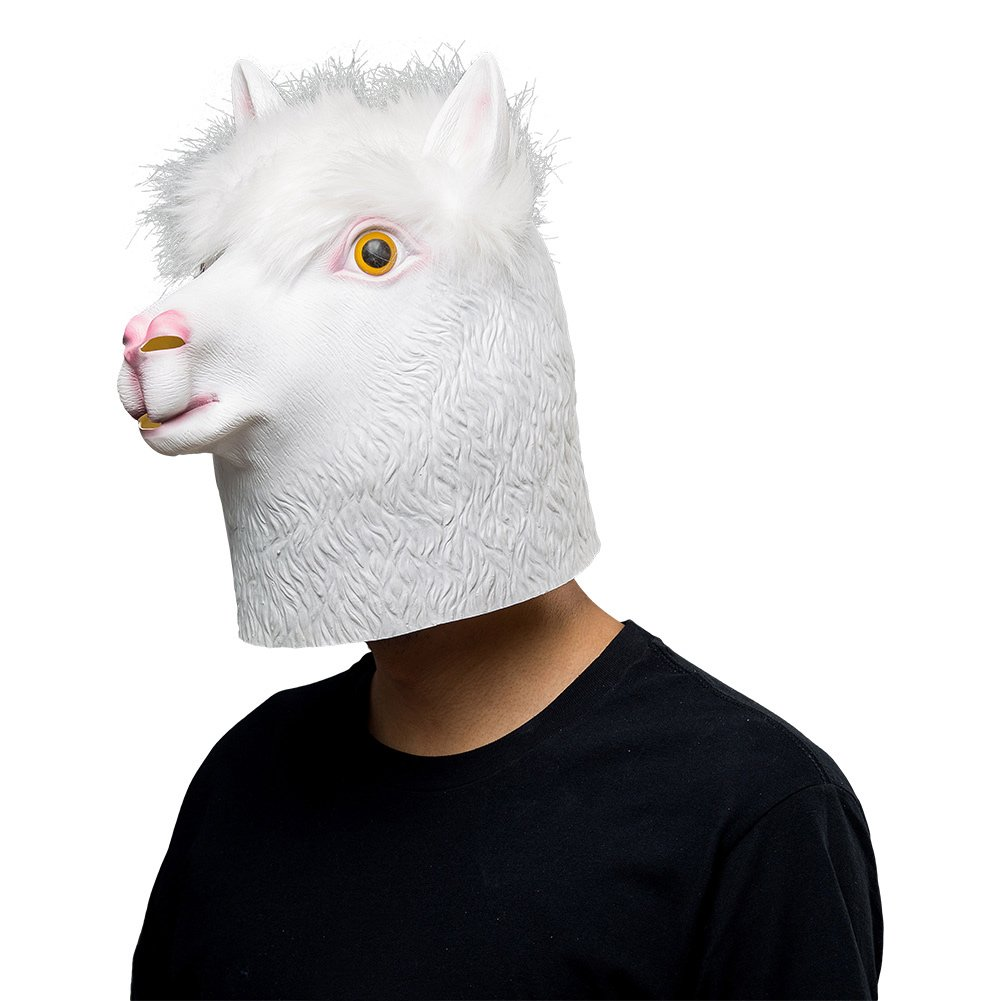 COSMOVIE Halloween Costume Alpaca Latex Animal Head Mask White Masks