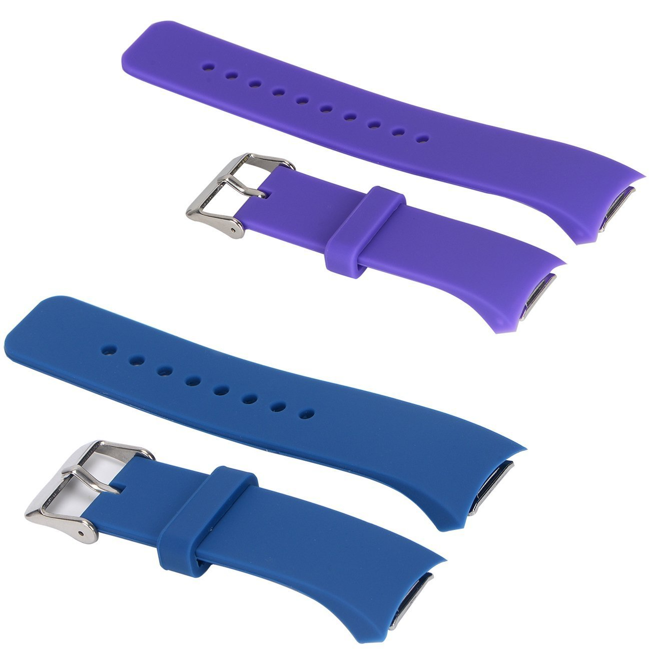 E ECSEM 2pcs Small Bands for Gear Fit2 Pro Watch, Replacement Soft Silicone Bands Straps for Samsung Gear Fit2 Pro Smart Fitness Band and Samsung Gear Fit2 Smartwatch : Darkblue+Purple