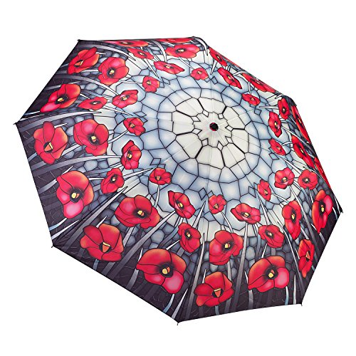Galleria Stained Glass Poppies Folding Umbrella