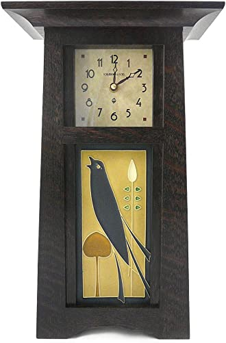 American Made Tall Craftsman Style Mantel Shelf Clock with Songbird Art Tile, Oak Wood with Slate Finish, 15