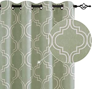 "Moroccan Tile Printed Curtains for Bedroom 72 inches Long Sage Curtains for Bedroom Window Curtain Panels Room Darkening Curtains Grommet Top Window Treatment Set(72"" Sage 2 pcs)"