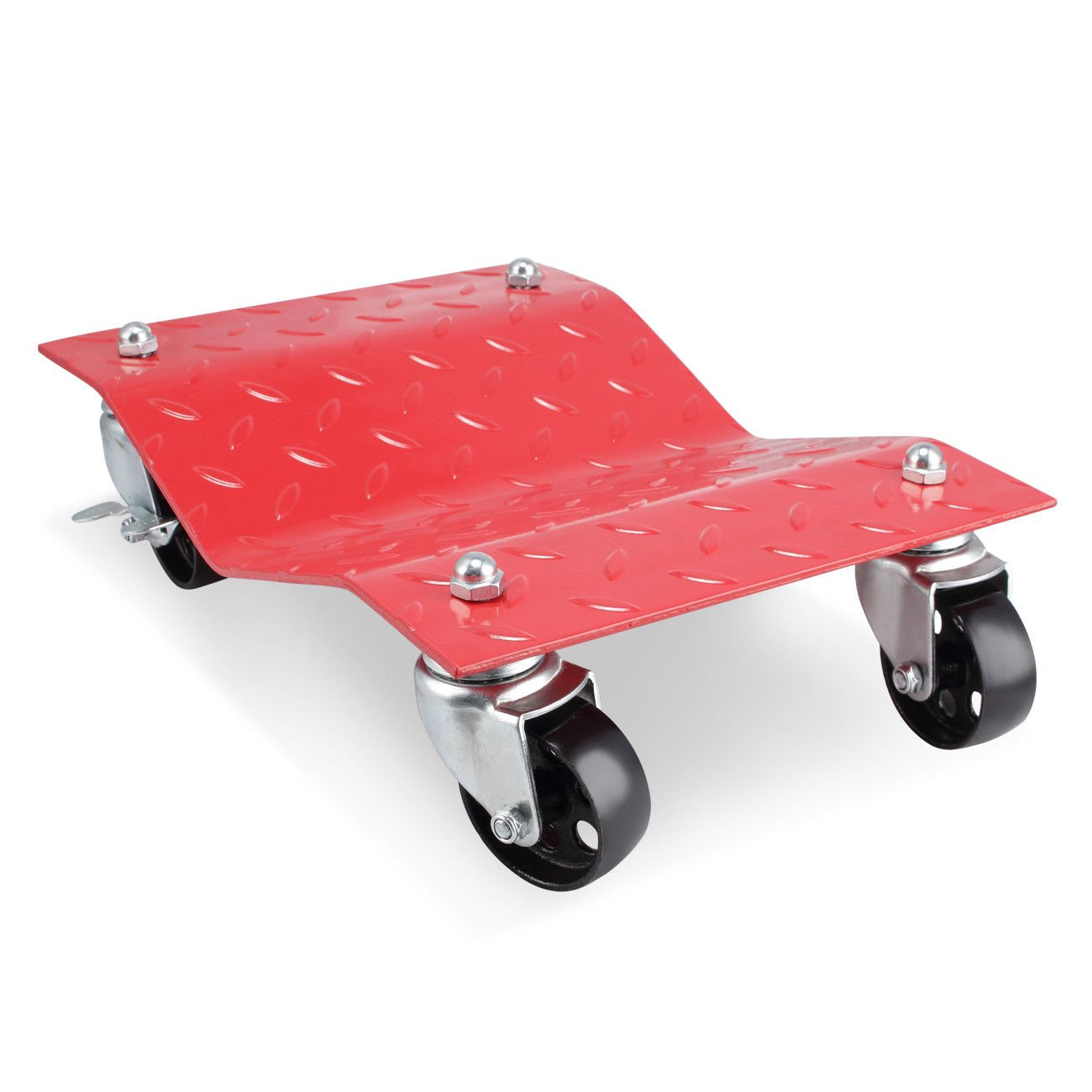 GHP 2-Pcs Red 1500-Lbs Capacity Steel Car Wheel Dollies with 3'' Casters & Lock by Globe House Products (Image #3)