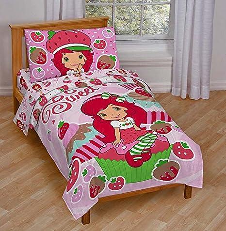 . Jay Franco Strawberry Shortcake Sweet Cupcake Toddler Bed Set