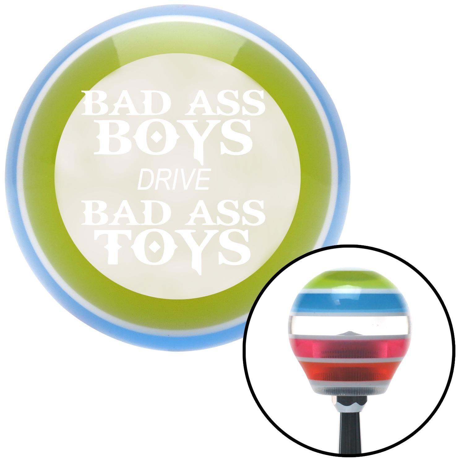 White Bad Ass Boys Drive Bad Ass Toys American Shifter 137726 Stripe Shift Knob with M16 x 1.5 Insert