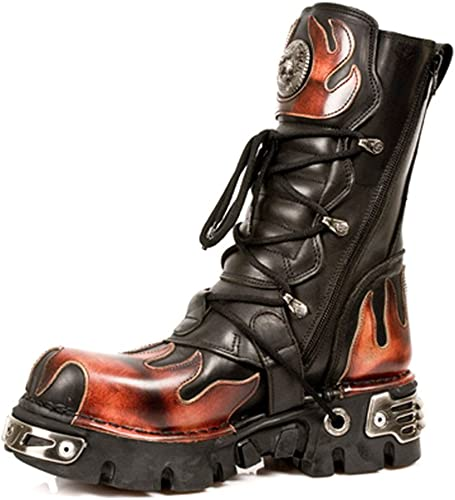 New Rock Newrock 591 S1 RED Flame Metallic Black Leather Boot Biker Goth Boots