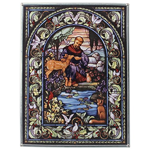 Stained Glass Panel - Saint Francis Patron Saint of Animals Stained Glass Window Hangings - Art Glass Window (Vintage Nativity Scene)