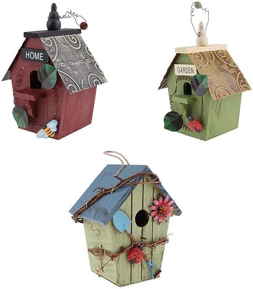 LOVIVER Casa de Aves, Caja de Pájaros, Casa de Pájaros Nido con Cable de Yute Bien Sujeto para Colgar - 3 Piezas- DBA: Amazon.es: Jardín