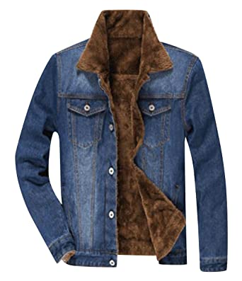 top-rated newest elegant appearance latest Denim Jackets Trendy XU Winter Men Thick Lined Jean Coats ...