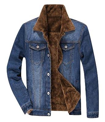 70bd9f4230f1 TRENDY XU Winter Men Thick Lined Jean Coats Faux Fur Collar Denim Jacket (S