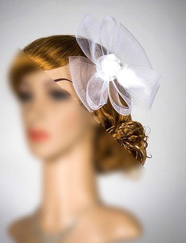 4a099a535822a Amazon.com  White Veil Headband Bridal Veil Fascinator Simple Fascinator  With Veil Bridal Headpiece Head Piece Derby Hat Fascinator White Fascinator   ...