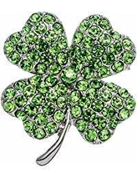 Green Shamrock Four Leaf Clover Brooch Pin