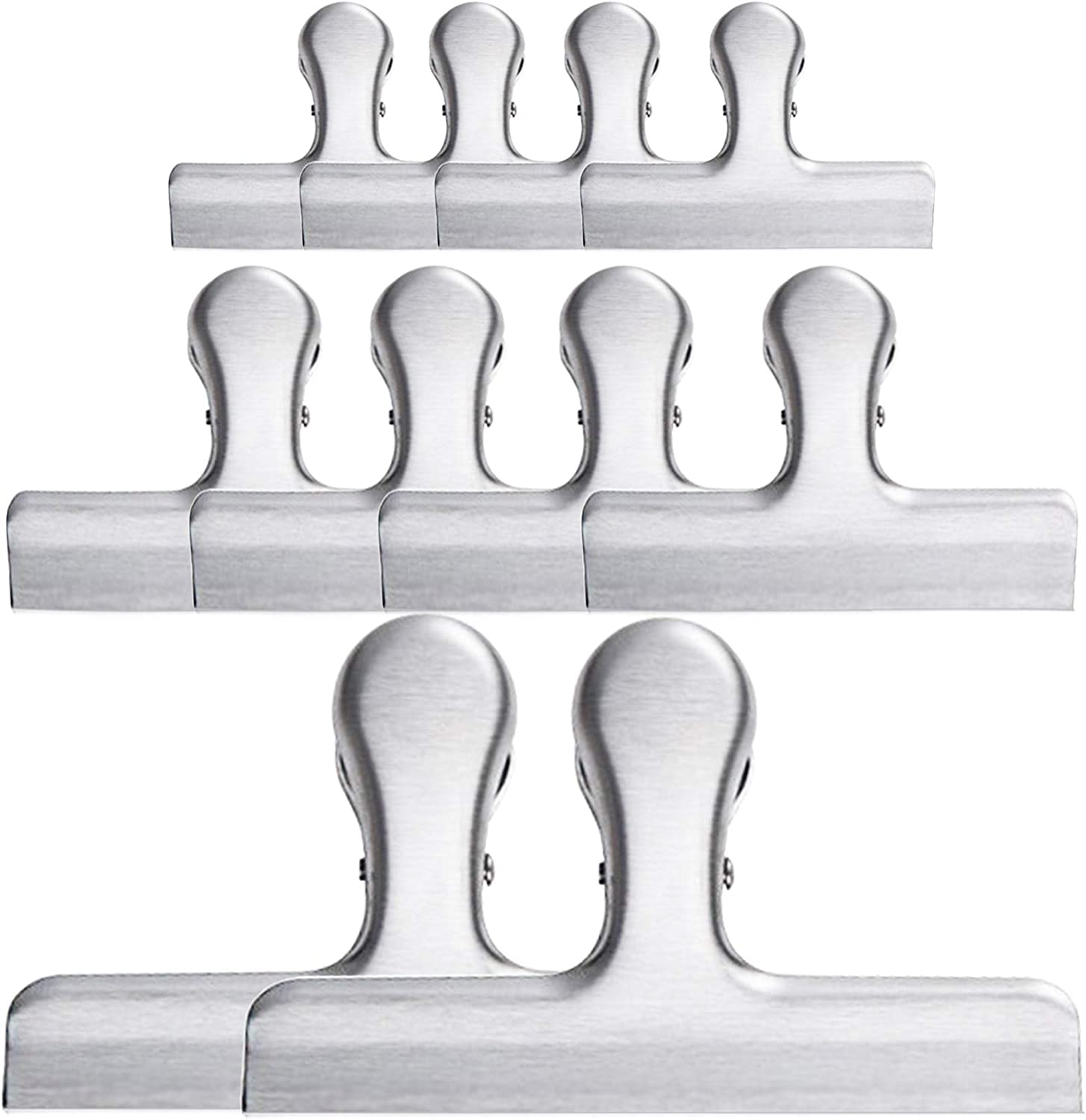 """Wingfish 10 Pack Chip Bag Clips Food Clips with 3 Sizes 4.7"""" 3"""" 1.6"""" Stainless Steel Heavy Duty Chip Clips for Food Package, Air Tight Seal Clips for Home Kitchen Office"""