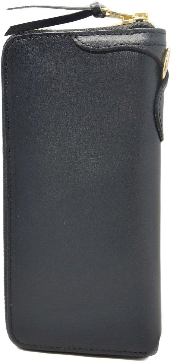 【高級ヌメ革を使用】本革 長財布 YKK ラウンドファスナー 大容量 ボックスき付き 父の日 ギフト プレゼント 10156 B07DMHFCM5 ブラック ブラック