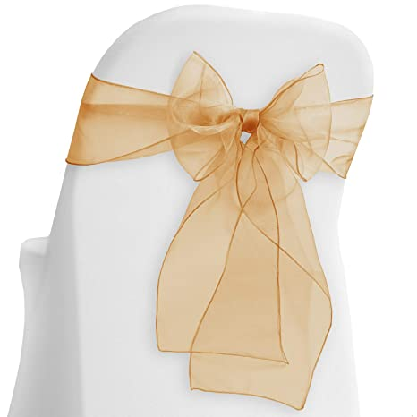 Amazing Lanns Linens 10 Elegant Organza Wedding Party Chair Cover Sashes Bows Ribbon Tie Back Sash Chocolate Brown Lamtechconsult Wood Chair Design Ideas Lamtechconsultcom