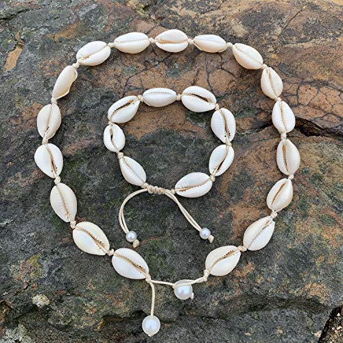 Cilkus Natural Shell Necklace Bracelet Anklet Set, Handmade Adjustable Pearl Buckle Summer Boho Hawaii Beach Seashell Choker Jewelry Gift for Women Girls
