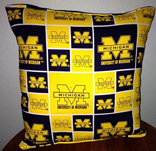 "Michigan University Pillow Football Pillow Pillow NCAA HANDMADE In USA Pillow is approximately 10"" X 11"