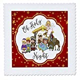 3D Rose Oh Holy Night with a Cute Nativity on a Gold and Red Star Background Quilt Square 14 by 14 Inch, 14 x 14