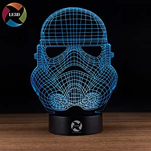 LE3D 3D Optical Illusion Desk Lamp/3D Optical Illusion Night Light, 7 Color LED 3D Lamp, Star Wars 3D LED For Kids and Adults, Trooper Light Up