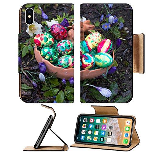 Liili Premium Apple iPhone X Flip Pu Leather Wallet Case Easter basket amongst spring crocus flowers Photo 19428023 Simple Snap Carrying (Basket Crocus)