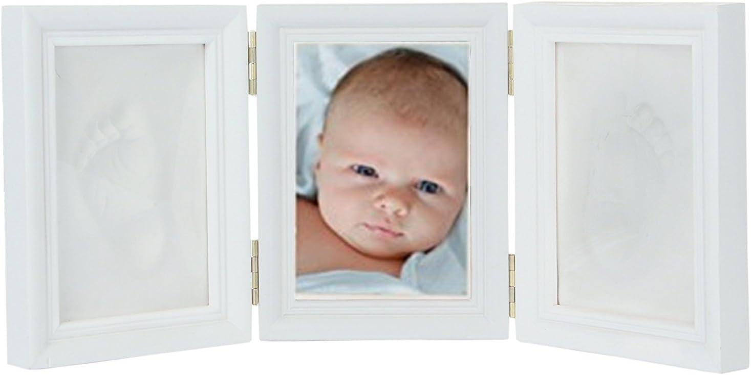 Demarkt Memories ES Photo Frame + 2 Baby Print - Marco Triple para Foto y 2 Huellas de bebé Blanco - Regalos para Bebé Recién Nacido 1PCS