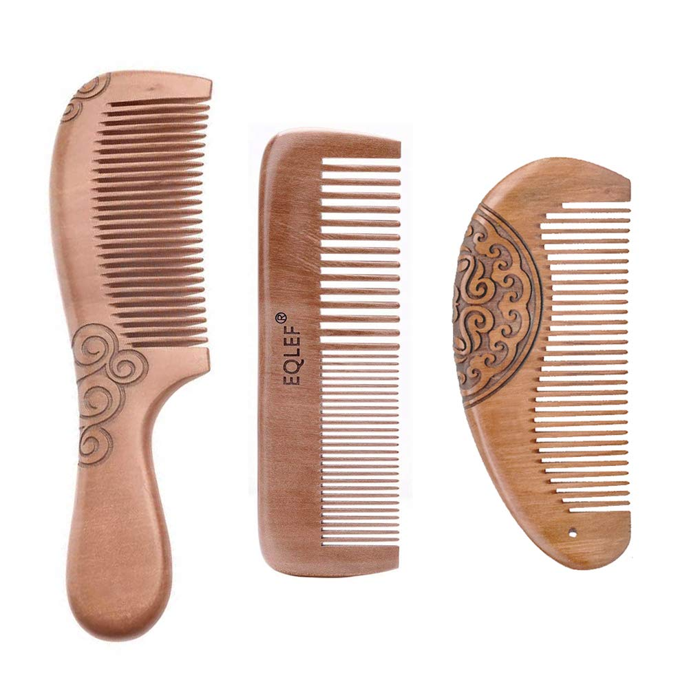 Set pettine in legno per bambine, pettine per capelli leggero in mogano naturale, set di 3 EQLEF®