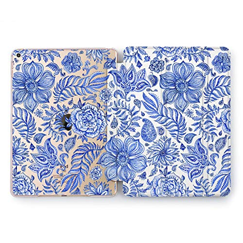 Wonder Wild Gzhel Pattern iPad Mini 1 2 3 4 Air 2 Pro 10.5 12.9 Tablet 2018 2017 9.7 inch Drawn Shell Smart Stand Floral Vintage Flower Pretty Sweet Handcraft Tulips Rose Print Leaves Luxury Art ()