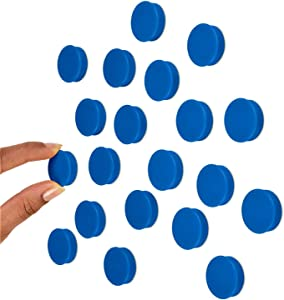 Scribble 1 Inch Blue Office Magnets (20 Pack), Colorful Round Refrigerator Magnets, Perfect for Whiteboards, Lockers & Fridge.