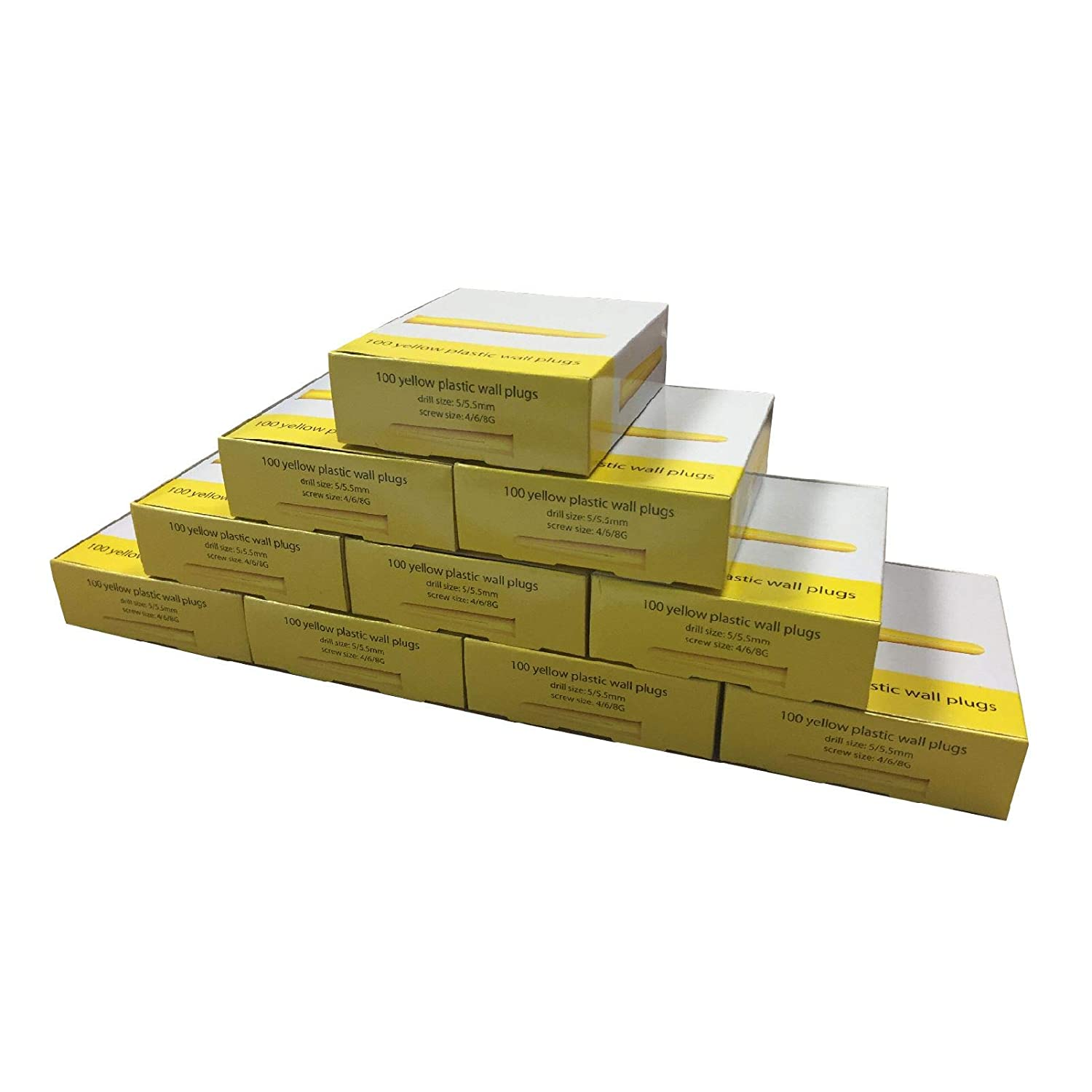 1000 x Yellow Wall Raw Plugs Trade Pack Expansion Fixings 5mm Rawl Plugs