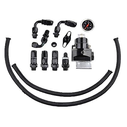 Adjustable Fuel Pressure Regulator and Gauge Kit CIVIC DSM STI GTI EVO Black