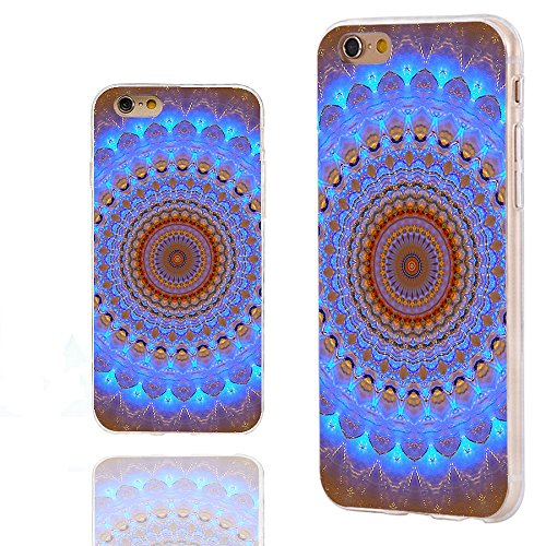 (iPhone 6s Plus Case,iPhone 6 Plus Case,ChiChiC 360 Full Protective Shockproof Slim Soft TPU Art Design Cover Cases for iPhone 6 6s Plus,Geometric Blue Brown Henna Mandala Datura Floral Lace)