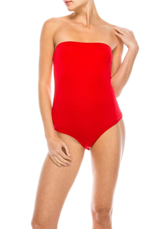 The Classic Women Plain Sleeveless Stretch Bandeau Boob Tube Bodycon Leotard Bodysuit