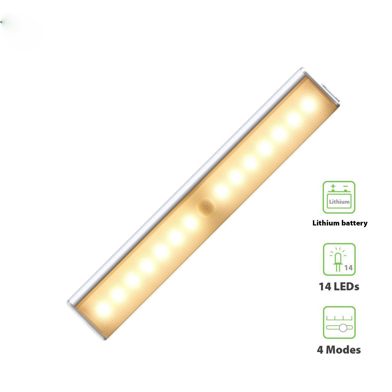 derlsonワイヤレスLEDモーションセンサーunder-cabinetライト、充電式モーション検知ライトforワードローブ、クローゼット、引き出し、廊下、Attics ( 2 - Pack ) DS-WML105YP B01IEGOQRO 13791 Rechargeable 14LED (Warm light /3000K) Rechargeable 14LED (Warm light /3000K)