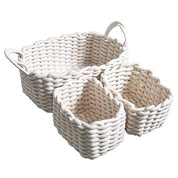 HomeMiYN Cesta de Almacenamiento de Algodón Natural Cuerda Tejida Cesta Lavable cestas Estante para Juguetes/Toallas/manteles/revistas/Cristal, Blanco, ...
