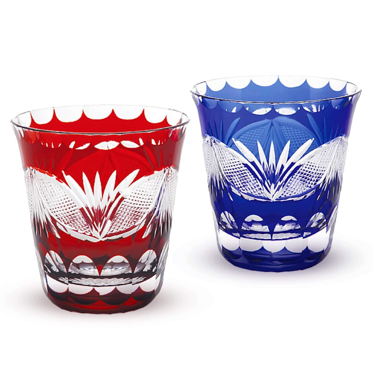 ヒロタグラスクラフト 小野塚定造作 ペア焼酎グラス 縁飾り舟型七宝