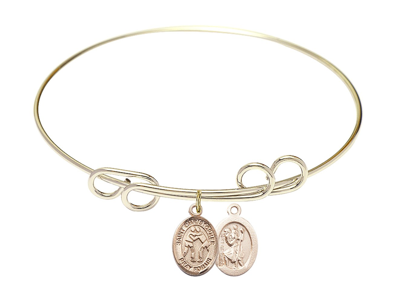 8 inch Round Double Loop Bangle Bracelet with a St. Christopher/Wrestling charm. by F A Dumont