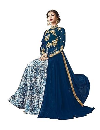 PinkcityShoppy Indian Women Designer Partywear Ethnic Traditonal Blue Salwar Kameez at Amazon Womens Clothing store: